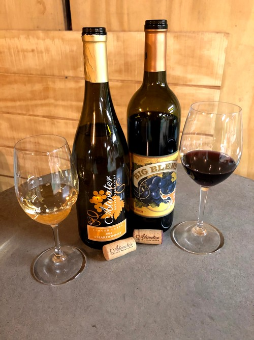 Two new releases, photo shows bottles, Big Blend and Chardonnay