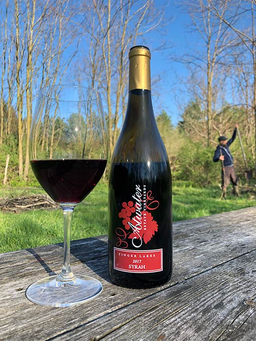 Syrah new release with George in the background.