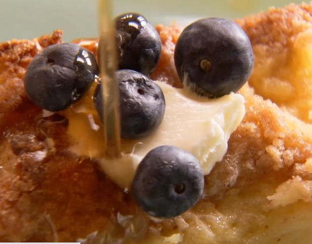 French Toast with Syrup and Blueberries